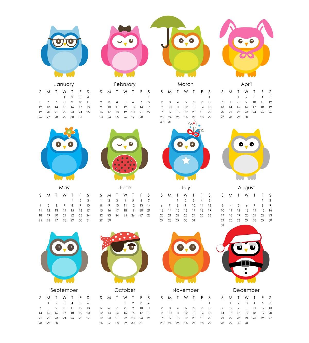 Owls 2014 Calendar printable 8x10 sheet DIY
