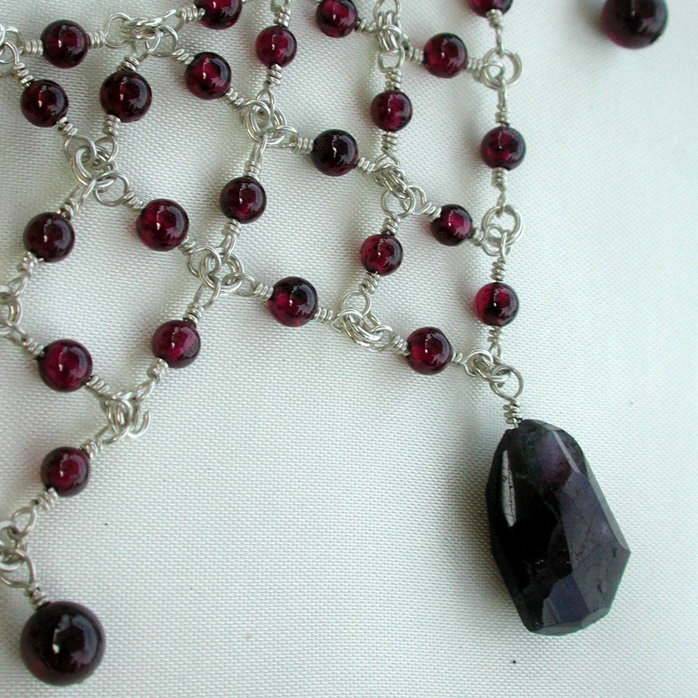 Red Garnet and Madagascar Ruby Victorian Choker OOAK by dbvictoria