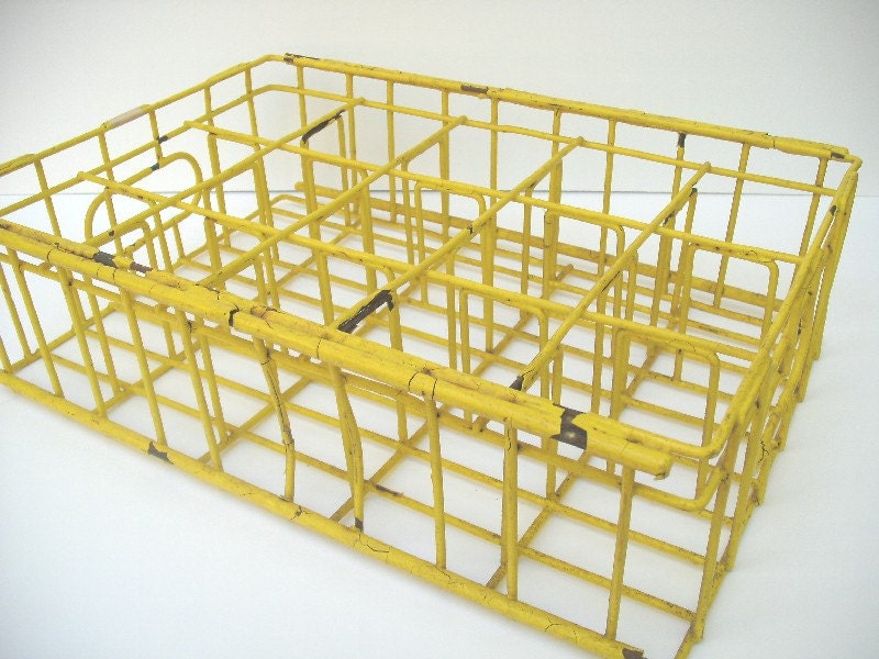 Yellow Metal Milk Bottle Crate