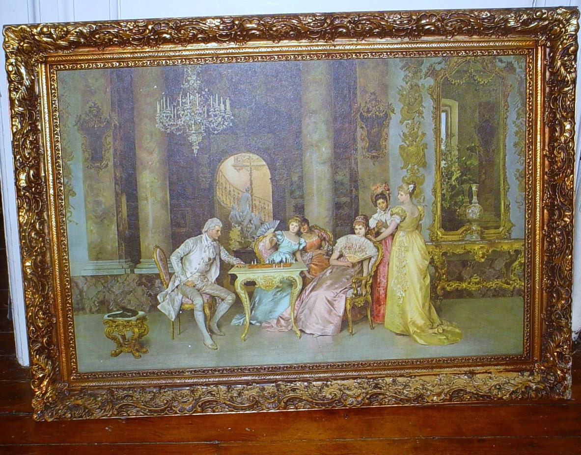 Vintage Italian Victorian Gesso Framed Print by