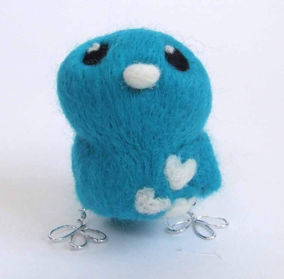 Tweet Needlefelted Turquoise and White Love Bird Tweet