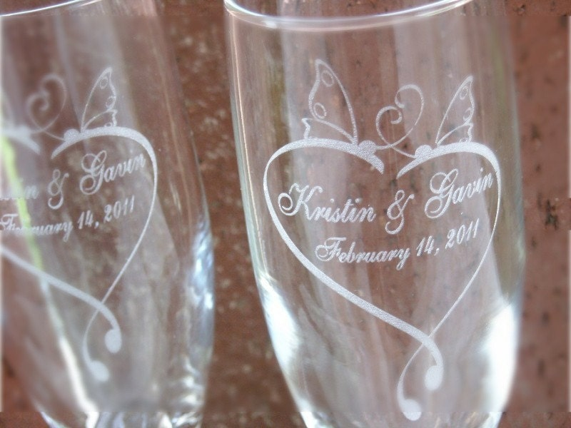 Butterfly Heart Engraved Wedding Glass Toasting By Laserbird