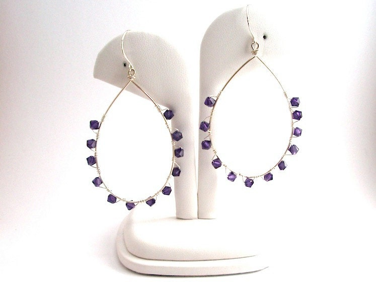 Large Violet Velvet Swarovski Hoop Earrings Wrapped in Argentium Sterling Silver Wire, Loop Earrings, Gift for Woman - IOStudio