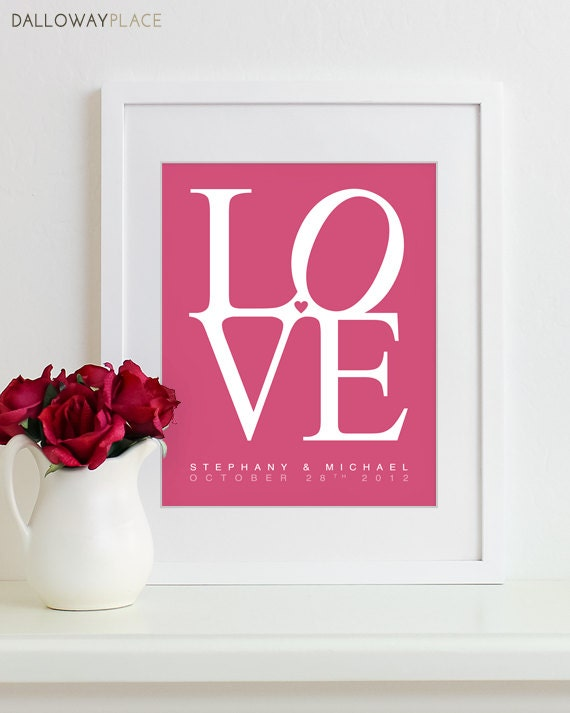 Wedding Gifts For Couple Etsy : Wedding Print Bridal Shower Gift Personalized Names For Couples LOVE ...