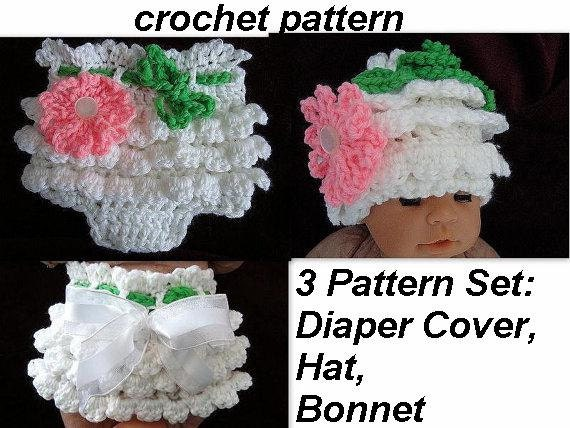 BABY crochet pattern ruffled pants diaper cover hat by ...