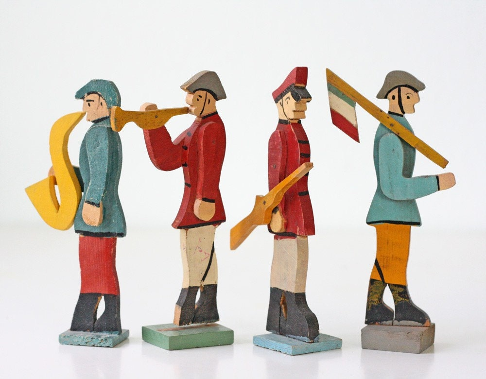 Vintage Wooden Soldiers, Set of 4