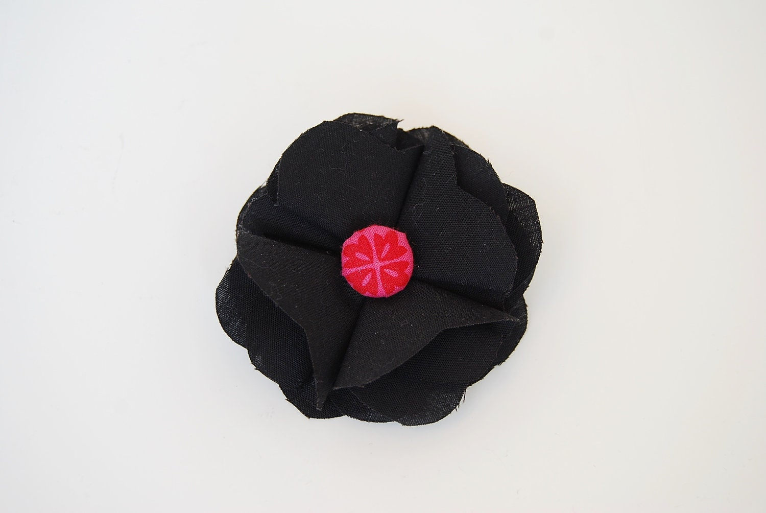 Black & Hot Pink Itty Bitty Fabric Flower Pin, Hair Clip, Women, Girls, Kids, Children