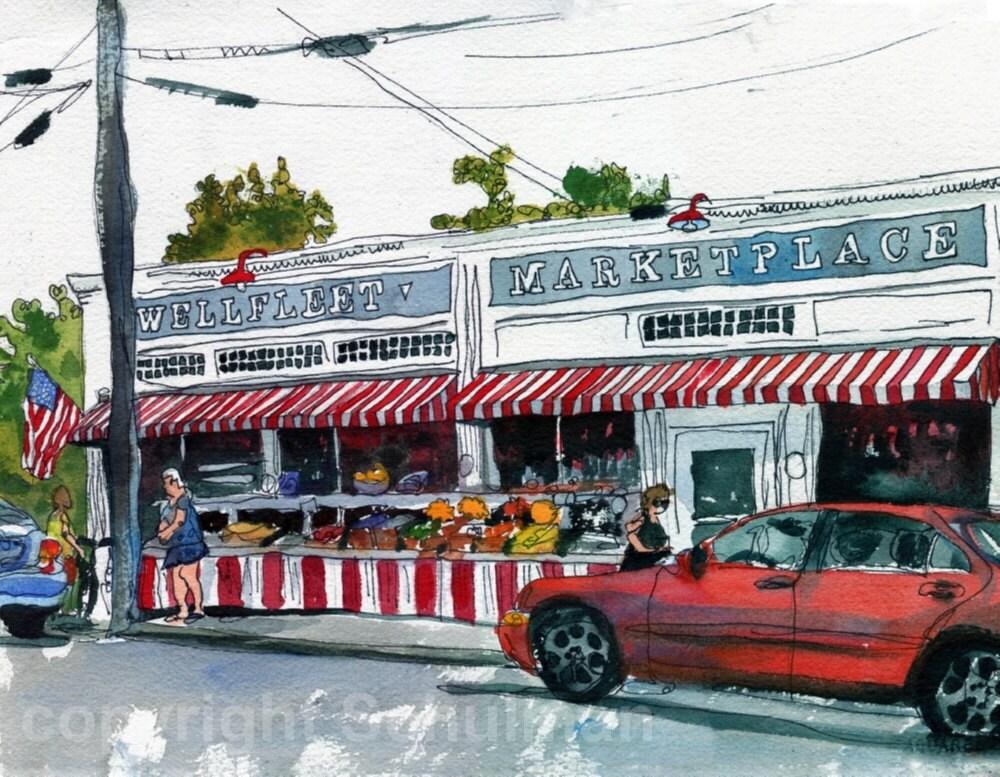 Cape Cod ART Watercolor Landscape Painting Wellfleet Market ORIGINAL
