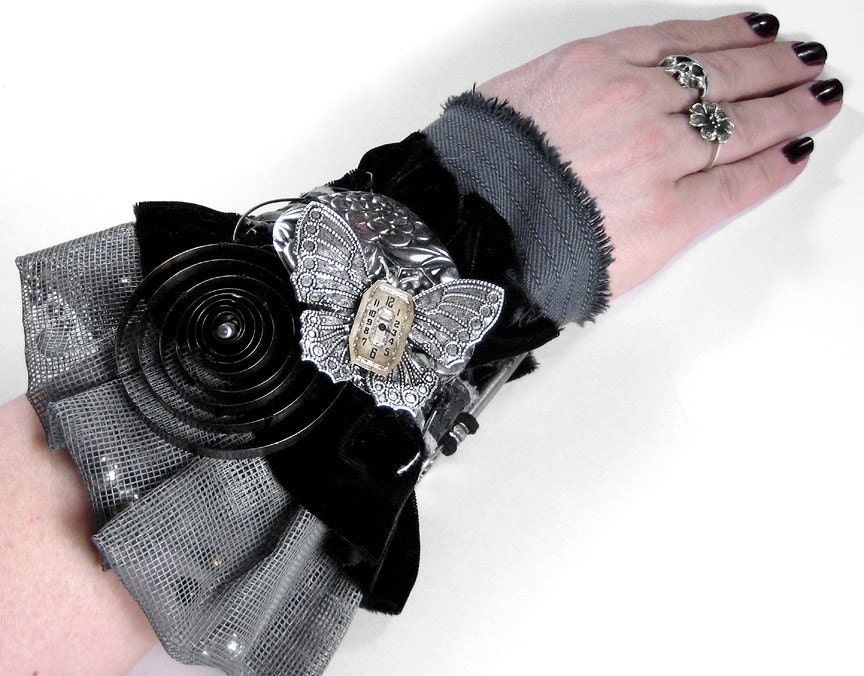 Steampunk Cuff - Vintage Textile Art Wrist Cuff - Neo Victorian BLACK VELVET, LEATHER - GRAY MESH WITH PEARLS - BUTTERFLY, COILS, KEY, Etc...Focals - One of a Kind Adjustable KNOCKOUT GOTHIC LOOK - TOO COOL....NEW WEARABLE ART Exclusively by edmdesigns