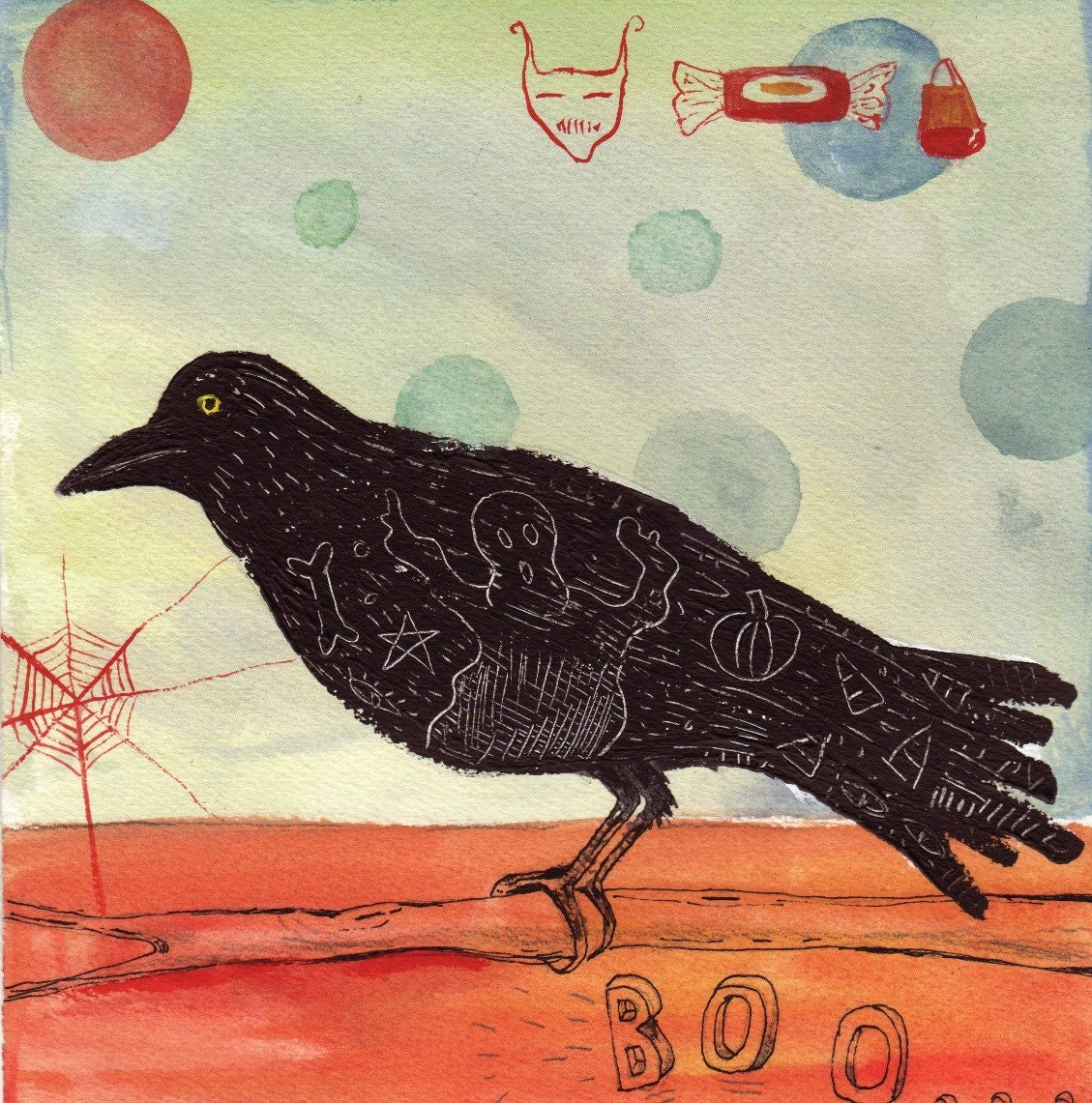 Halloween crow painting