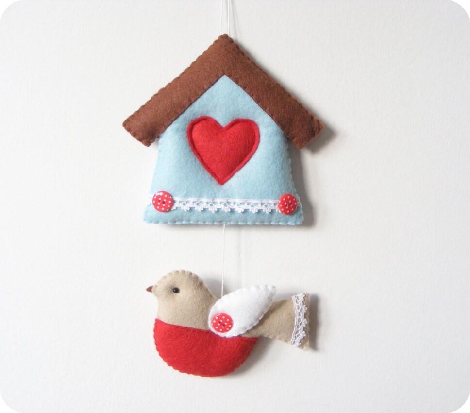 PDF pattern - Felt bird and house ornament. DIY easy sewing pattern ...