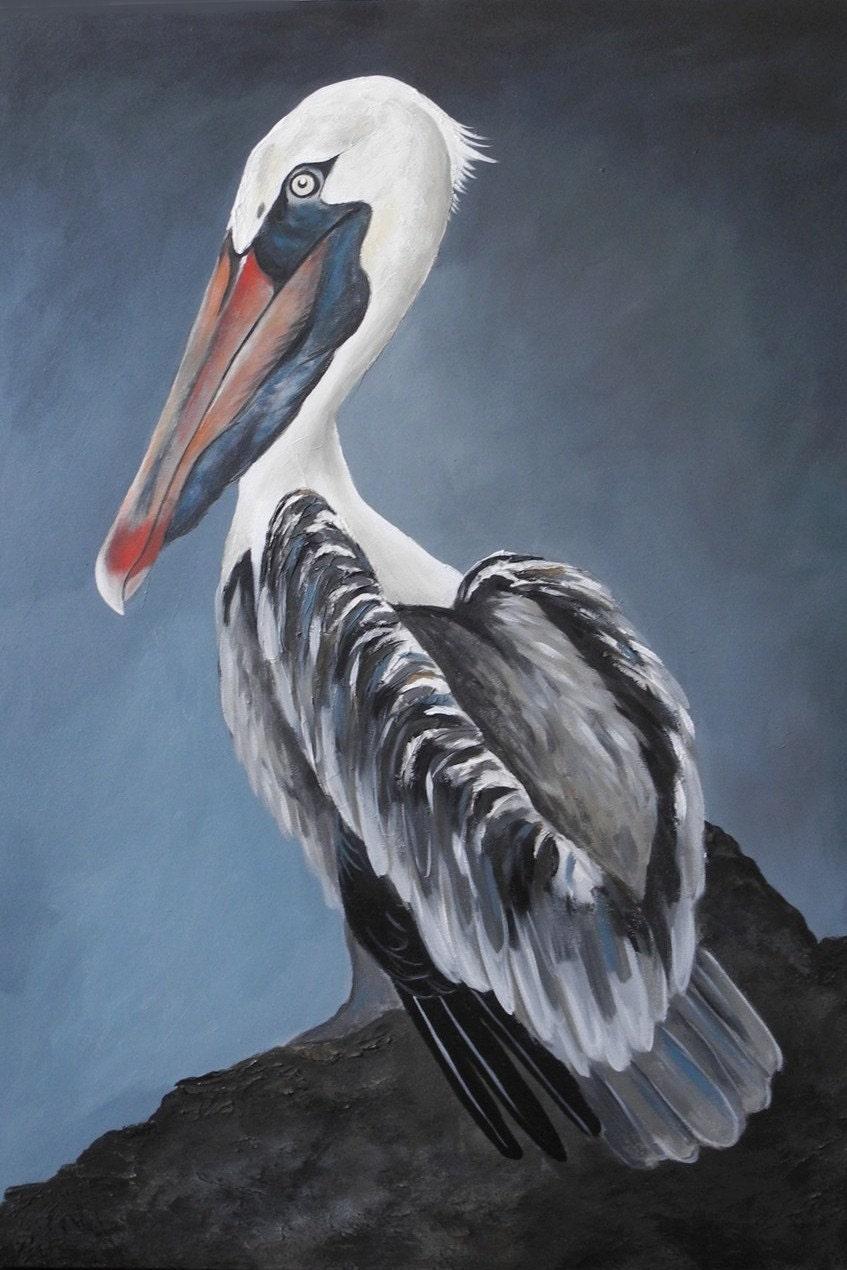 Pelican Wall Art Home Decor Painting Shore Bird By Birdsinhand