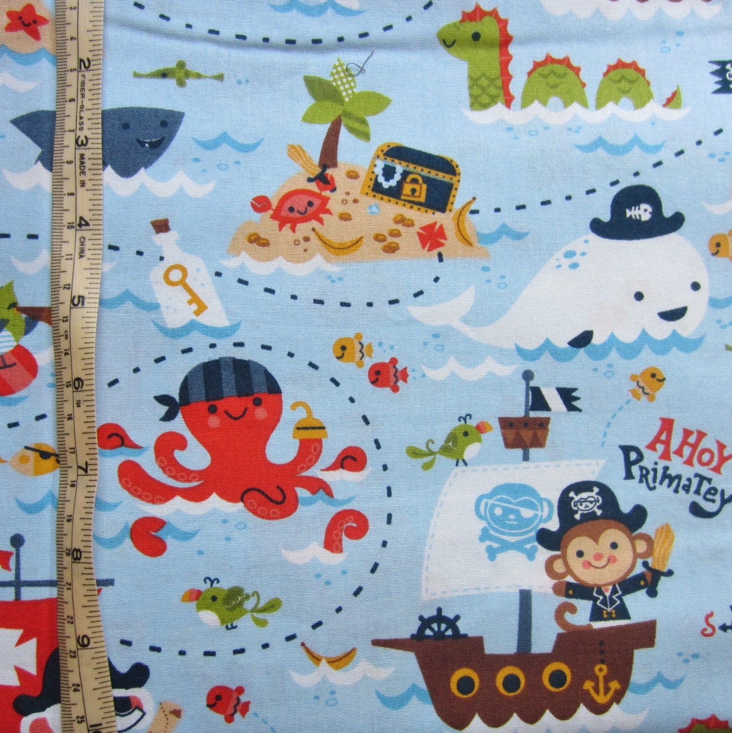 Pirate fabric 1 2m 19 pirate monkey octopus by handmadesource for Monster themed fabric
