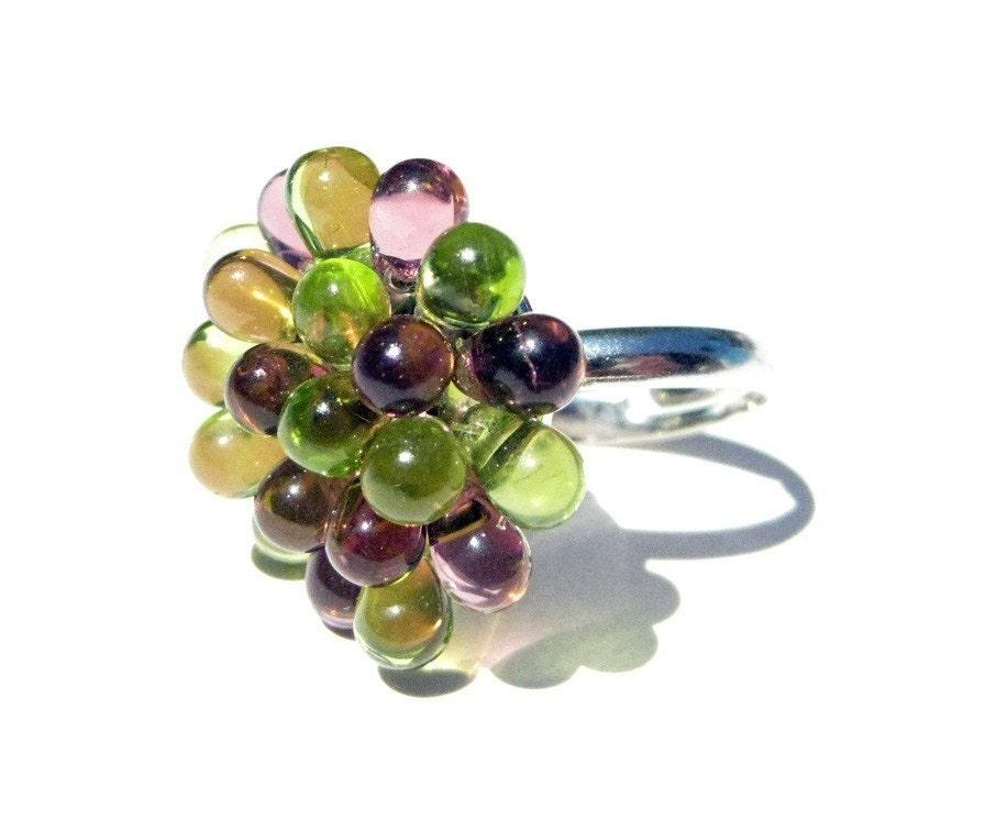 Purple and Green Chrysanthemum Ring