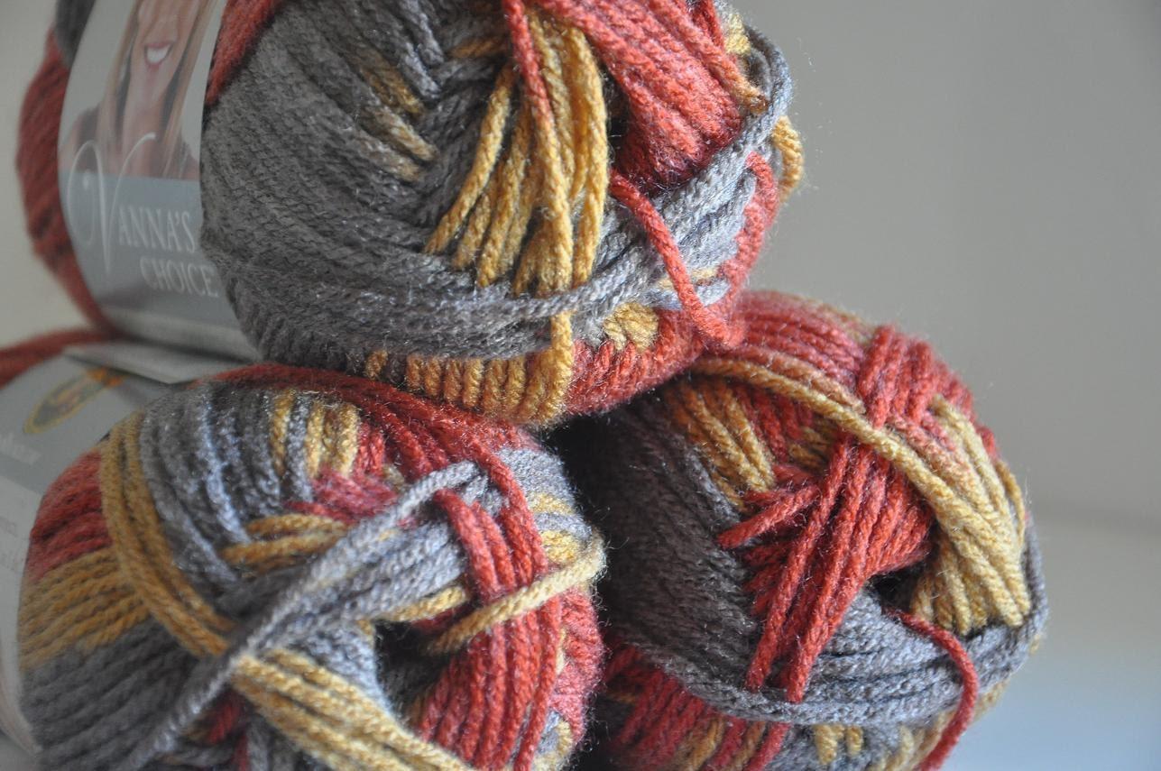 Vannas Choice Yarn Autumn Stripes Lion Brand Yarn by AandBDestash
