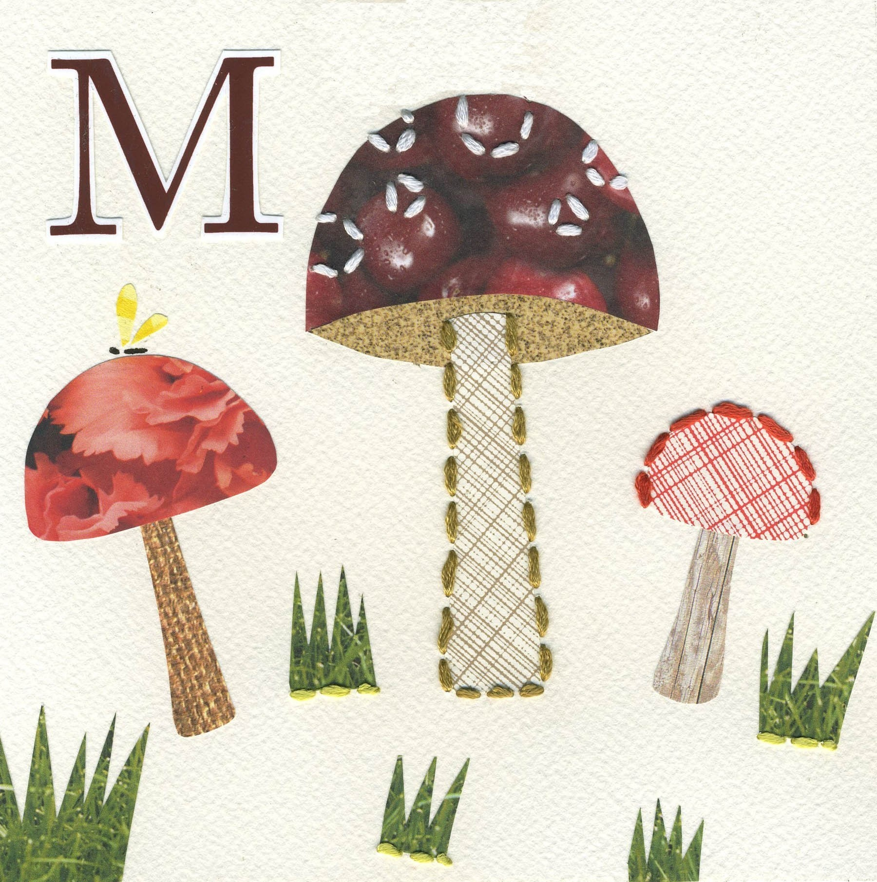 Alphabet Nursery Art Print Letter M as in Mushroom