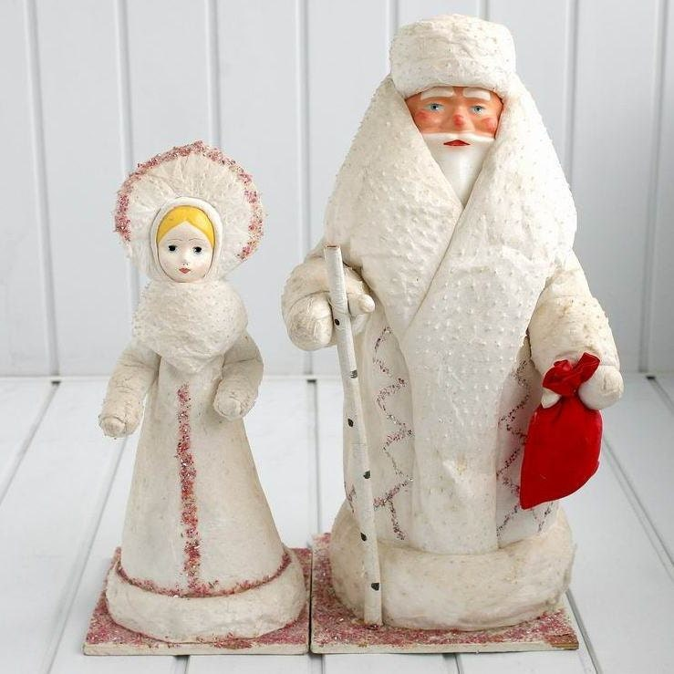 Ded Moroz and Snegurochka Christmas Figurines Dolls / Santa and Snow Maiden / from 1960s 1970s Russia / Soviet Union
