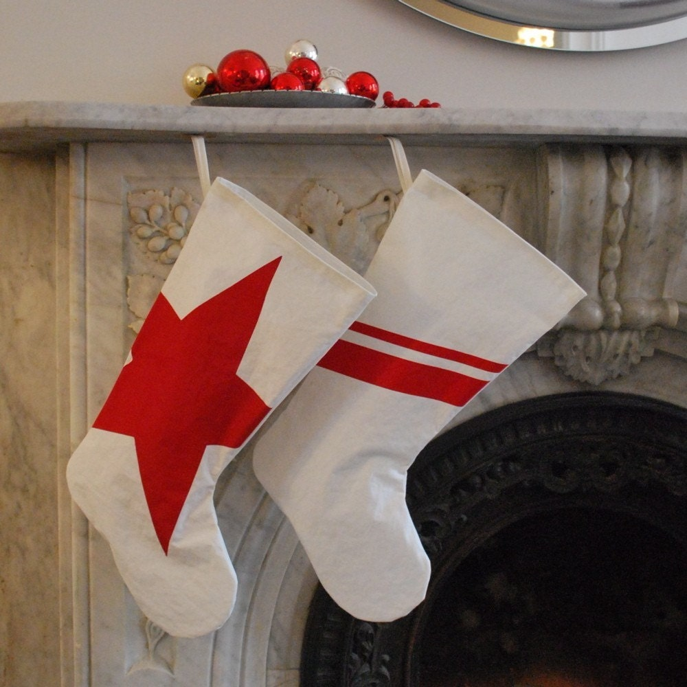Recycled Sail Holiday Stocking - Large Stocking with Red Stripes