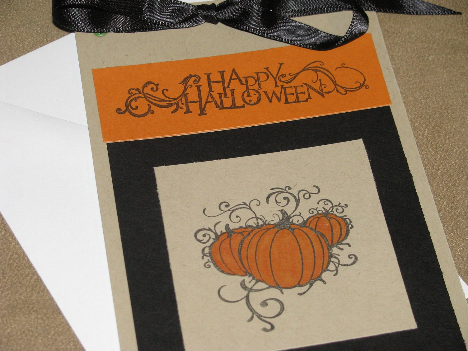 Happy Halloween Blank Greeting Card with Pumpkins