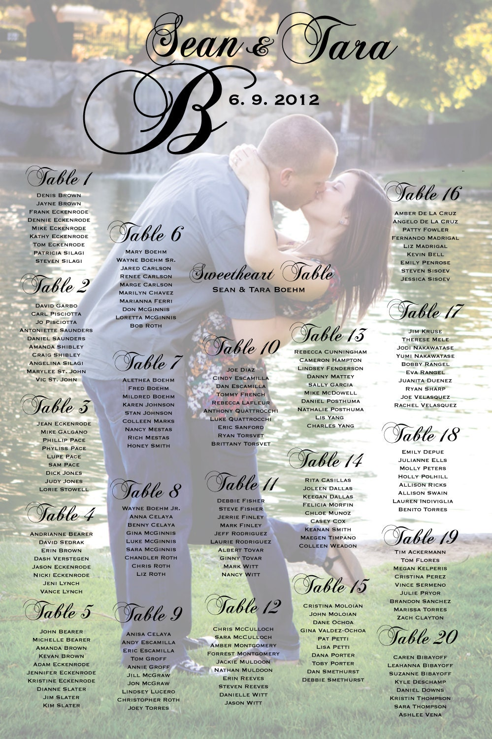 Seating Chart Poster For Wedding Reception  PetitComingoutpolyCo