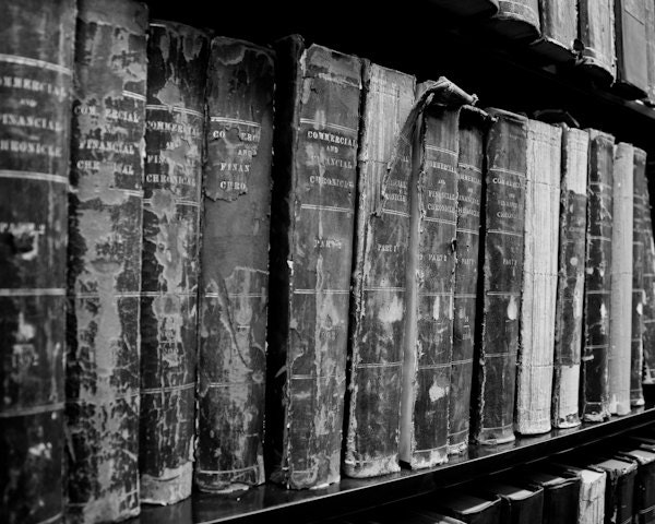 Black & White Photography - Old Books - 8 x 10 - fine art print, home decor, wall photo, monochrome, library, office, grey gray, history - LifeDevelopedPhoto