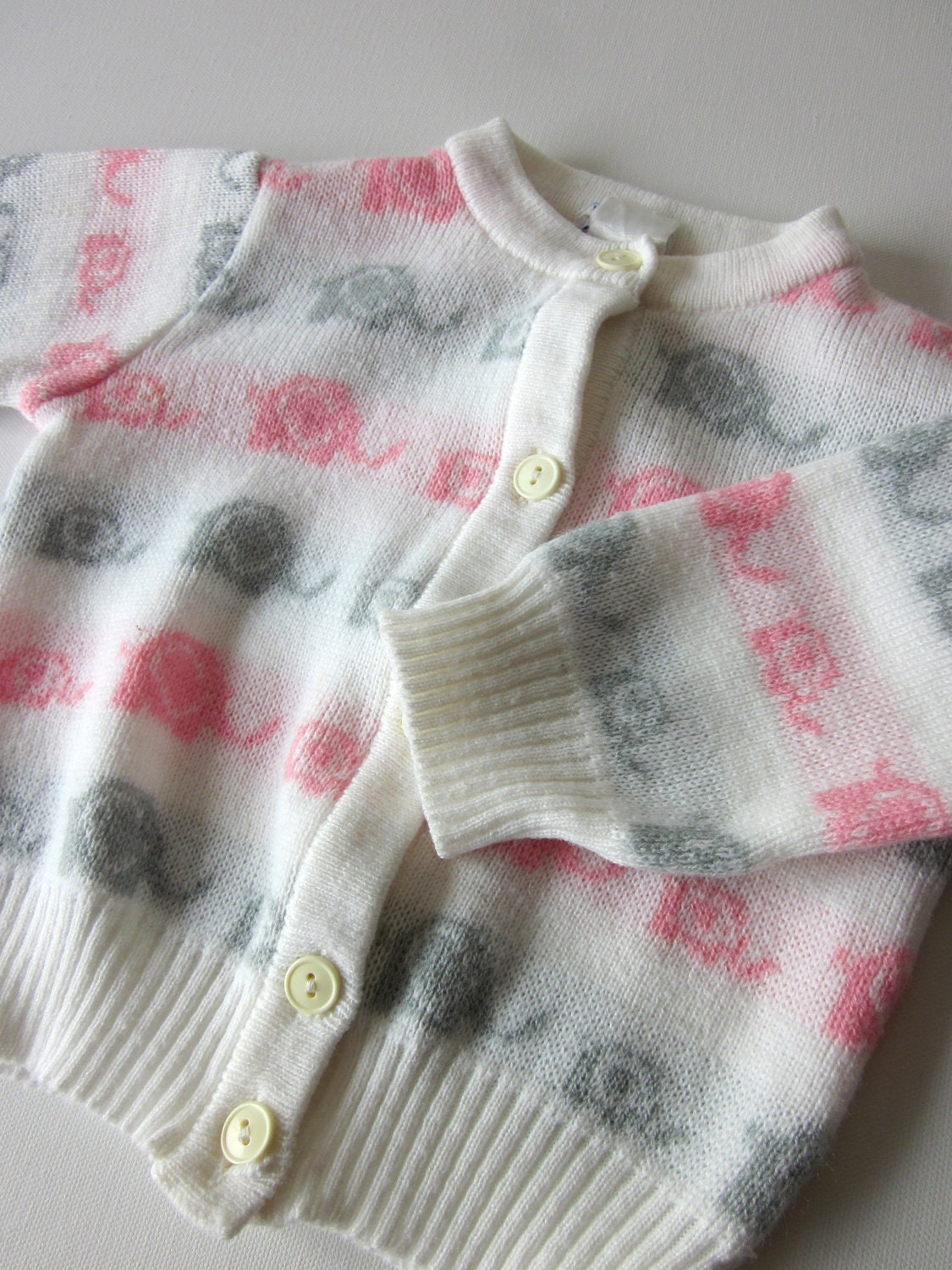 Vintage Infant Cardigan Sweater - Pink and Gray Elephants - Size 12 Months - NostalgiaMama