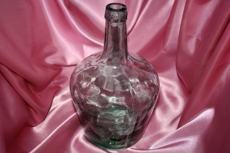 Vintage viresa green glass wine bottle jug by for Green glass wine bottles