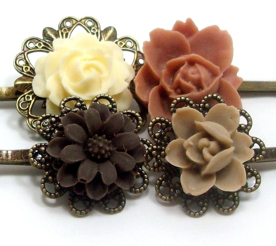 Flower Hair Pins Brown Ivory Tan Neutral . CHOCOLATE CARAMEL