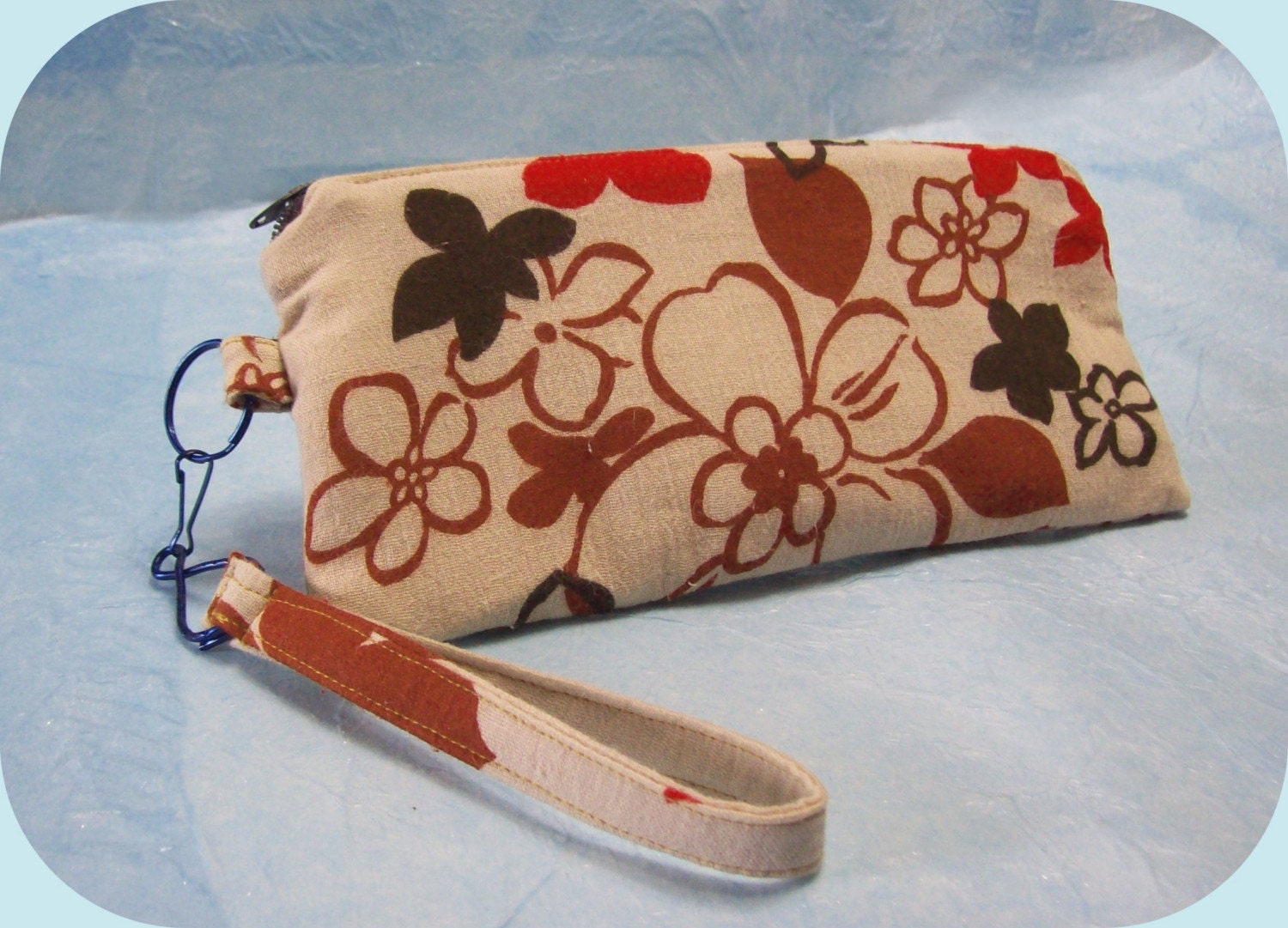 PrettyCool Wristlet Retro Floral red black tan