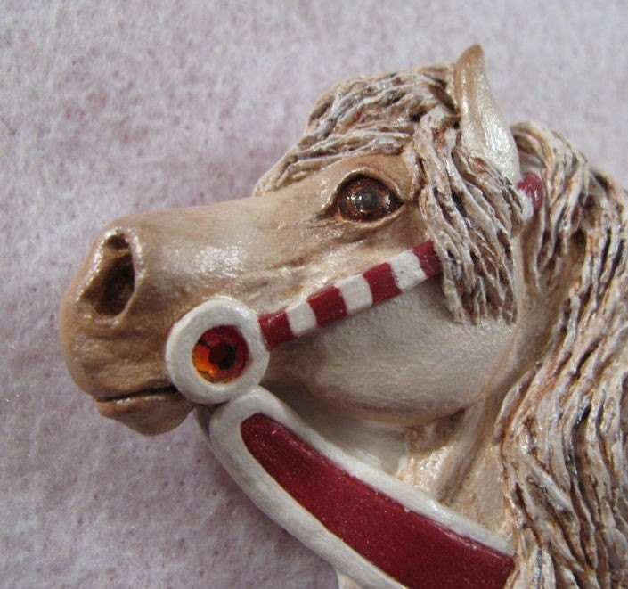 OOAK Carousel horse art pin - Peppermint