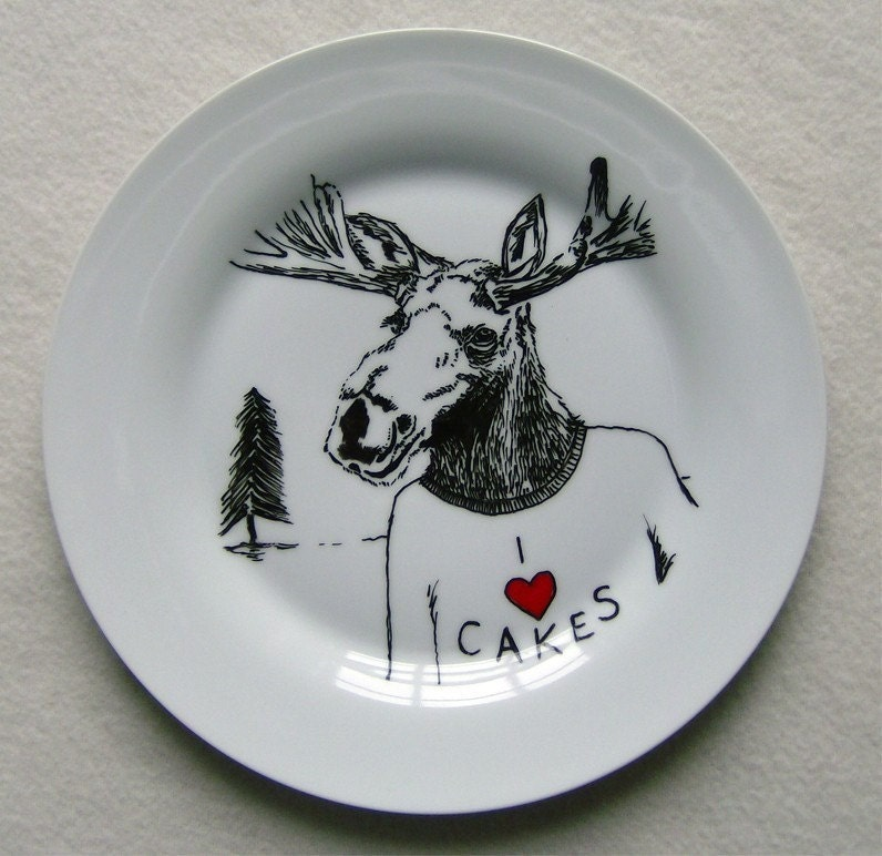 Hand Drawn Plate - Moose loves Cake