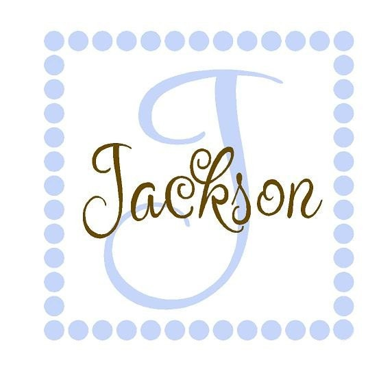 Square Polka Dot Vinyl Wall Decal Lettering Custom Initial and Name Baby Nursery Boy Girl 22INCHES FN0031