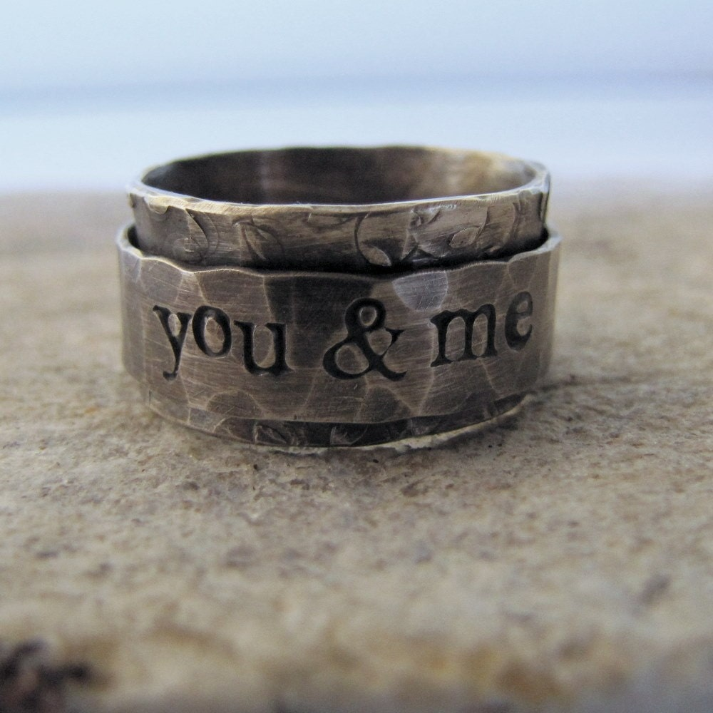 25% OFF SALE Rustic distressed personalized spinner ring in sterling silver