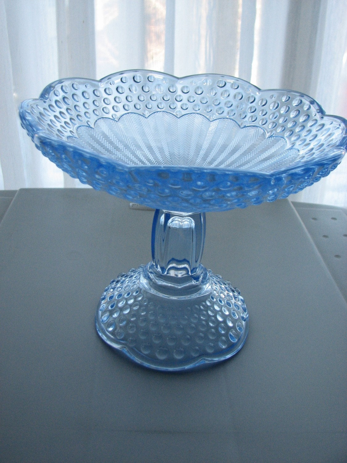 Clearance item...Vintage Emily's Attic by Gorham Blue Glass Compote Bowl