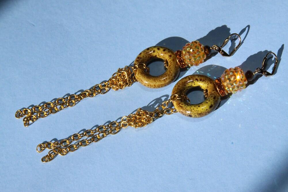 "5"" 1/2 L mustard yellow, ceramic bead, topaz, yellow rhinestones, gold chains, dangle drop, Mustard 1"