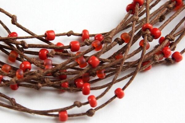 Boho Necklace, Eco Friendly Necklace, Multi Strand Necklace - Natural Polished Brown Hemp -  Orange Red Beads - Bird Nest Fiber Jewelry - KapKaDesign