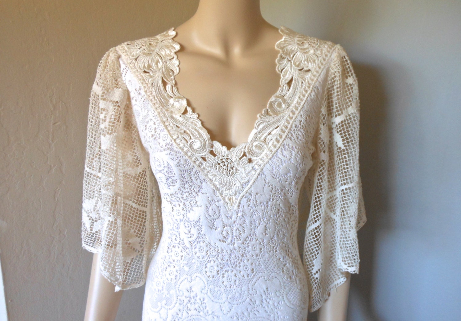 RESERVED Jani Cream Crochet LACE Wedding Dress by MuseClothing