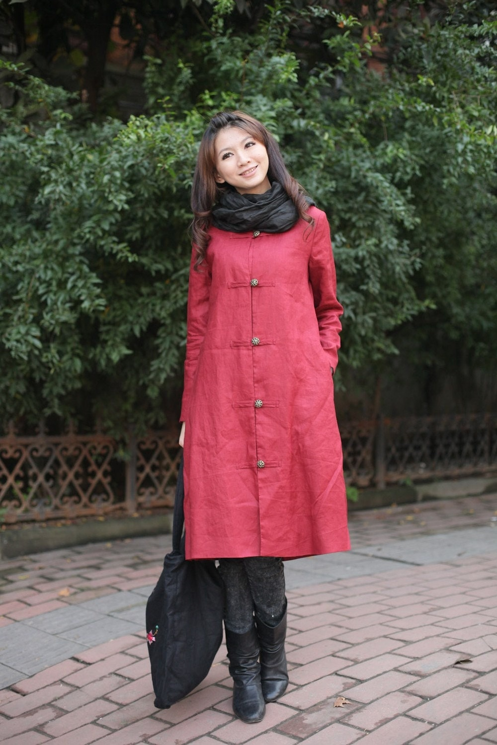classic flok style red flax sundress/coat(more colour and size choice)
