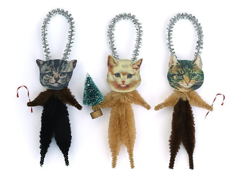 Christmas Cats Chenille Ornaments