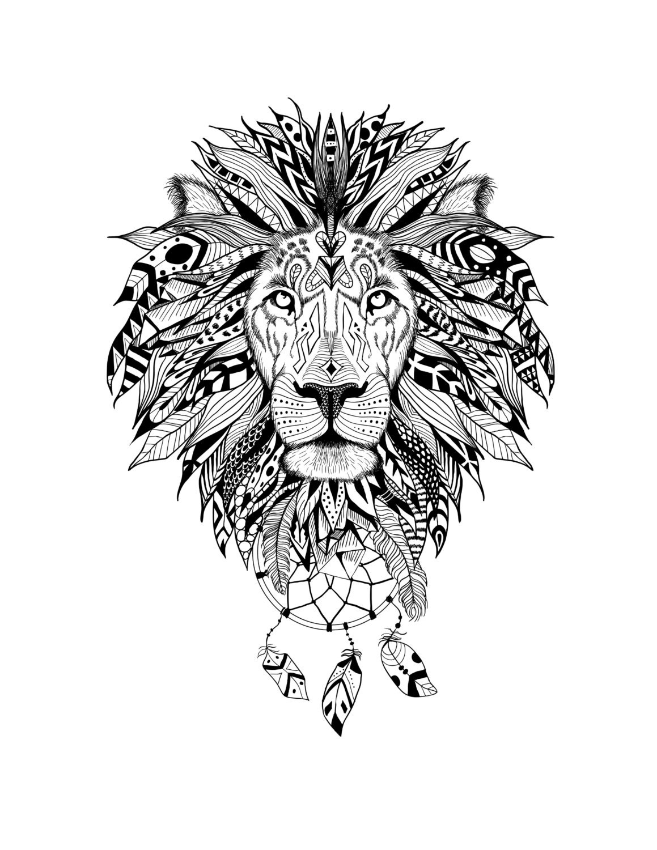 Lion art black and white