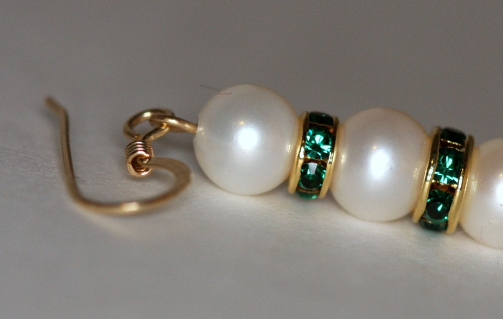 Fresh water pearl earrings with gold-plated Swarovski Emerald rondelles