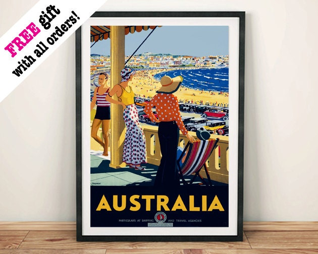 AUSTRALIA BEACH POSTER Vintage Aussie Travel Advert Reproduction Art Print Wall Hanging