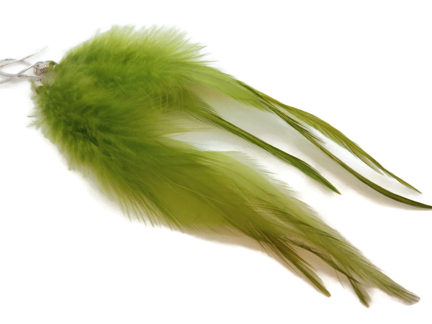 Spring Green Feather Earrings - TheJewelryByAndrea