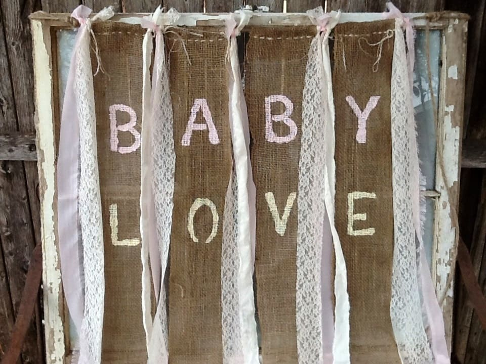 baby love burlap banner for babys room country by sweettomyheart
