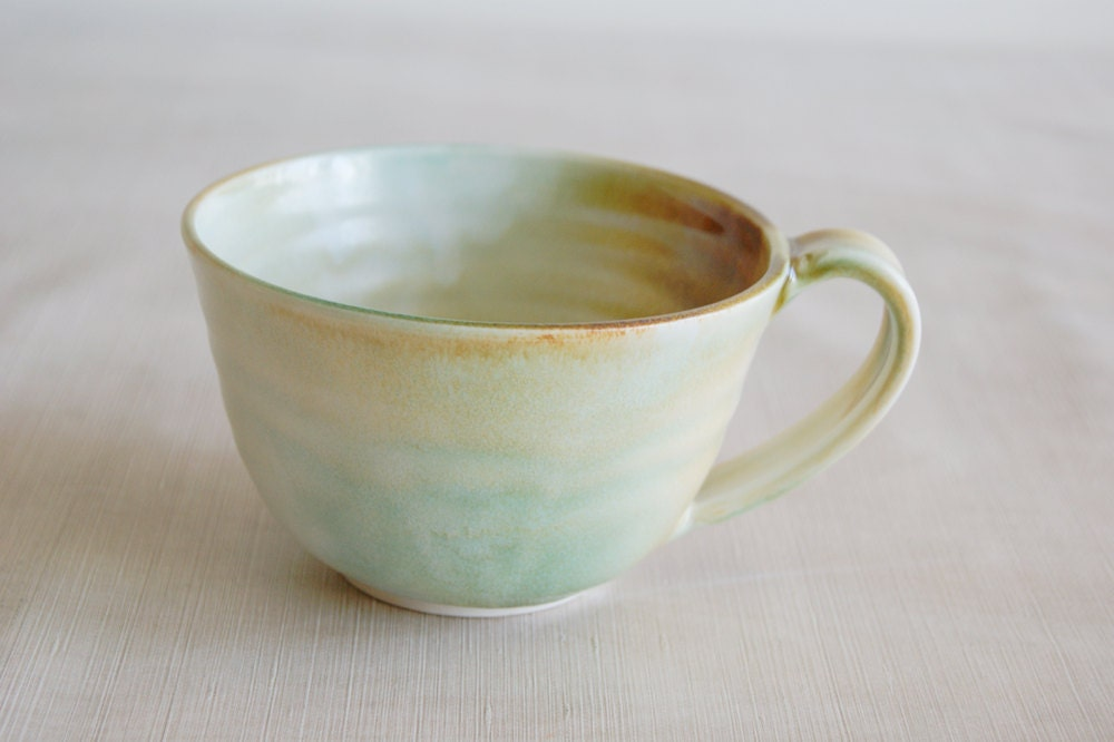 Large Turquoise, Rust and Cream Porcelain Ceramic Mug Cup - jansonpottery