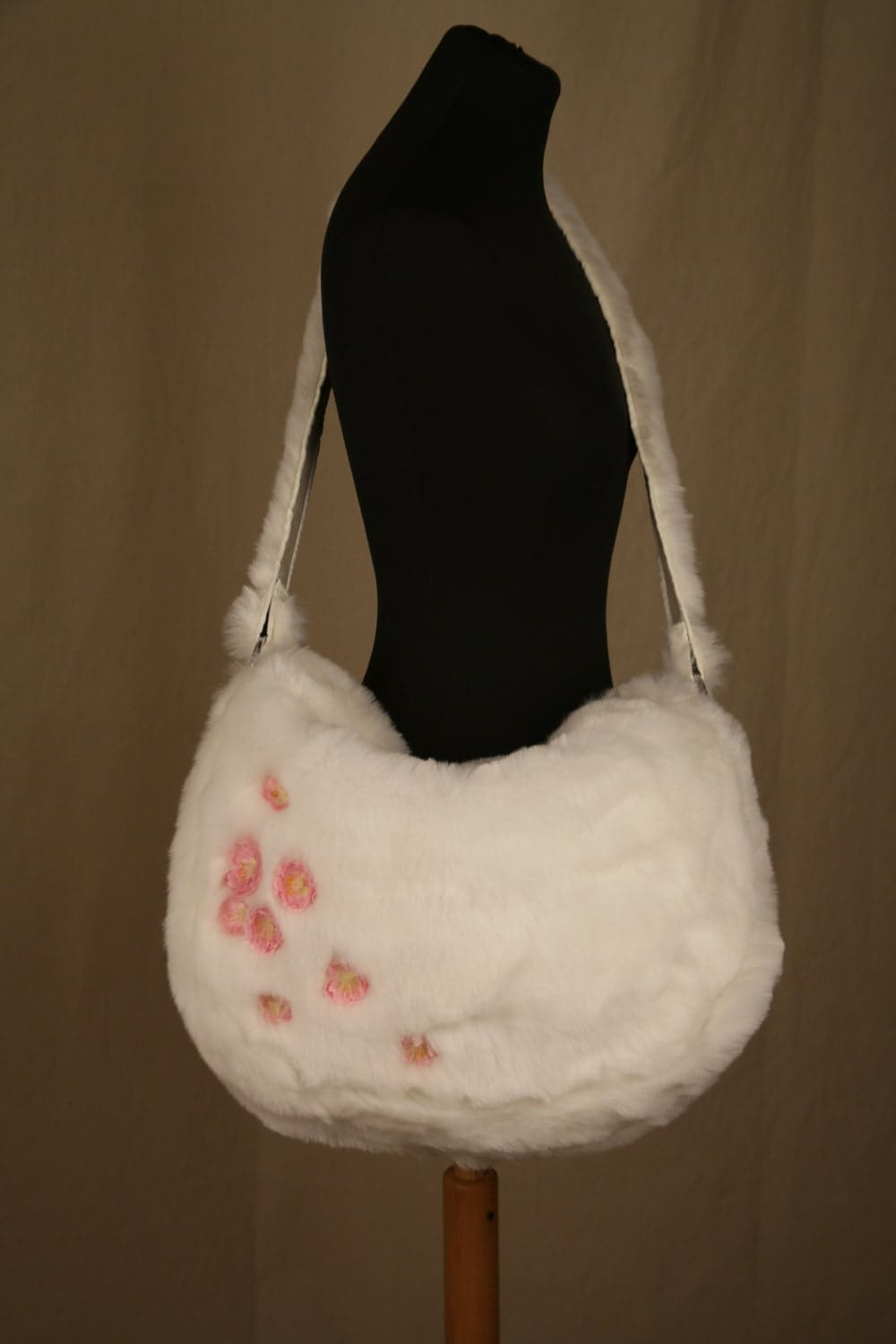 Bespoke Faux Fur Messenger Bag winter white with pink fabric flowers by Zebraskins