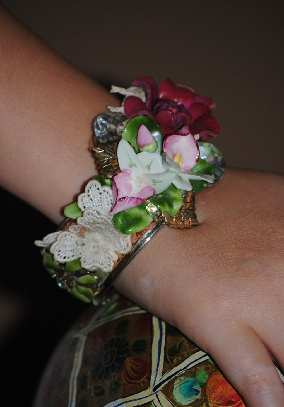Victorian style assemblage cuff bracelet bangle OOAK