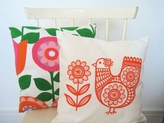 Scandinavian style screen printed Spring Chicken cushion cover