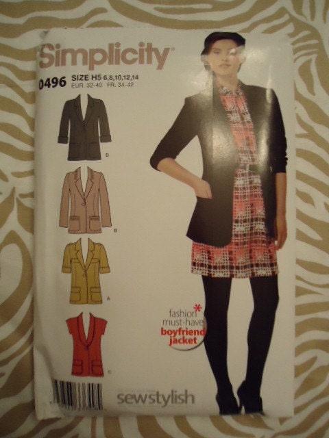 Simplicity 0496 UNCUT Blazer Pattern