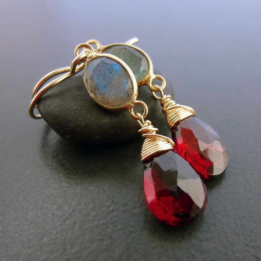 Garnet Wrapped In Gold Labradorite Earrings
